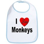 I Love Monkeys for Monkey Lovers Bib