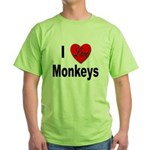 I Love Monkeys for Monkey Lovers Green T-Shirt