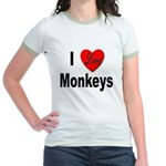 I Love Monkeys (Front) Jr. Ringer T-Shirt