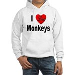 I Love Monkeys (Front) Hooded Sweatshirt