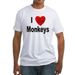 I Love Monkeys (Front) Fitted T-Shirt