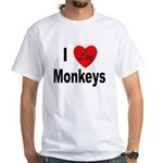 I Love Monkeys (Front) White T-Shirt