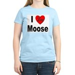 I Love Moose (Front) Women's Pink T-Shirt