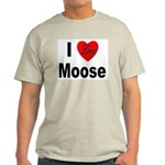 I Love Moose (Front) Ash Grey T-Shirt