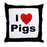 I Love Pigs for Pig and Hog Lovers Throw Pillow