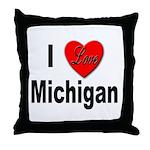 I Love Michigan Throw Pillow