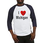 I Love Michigan (Front) Baseball Jersey