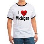 I Love Michigan Ringer T