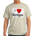 I Love Michigan (Front) Ash Grey T-Shirt