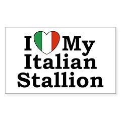 I Love My Italian Stallion Rectangle Decal