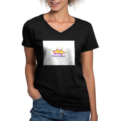 camperqueen Women's V-Neck Dark T-Shirt