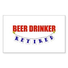 Retired Beer Drinker Rectangle Decal
