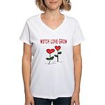 Watch Love Grow Women's V-Neck T-Shirt