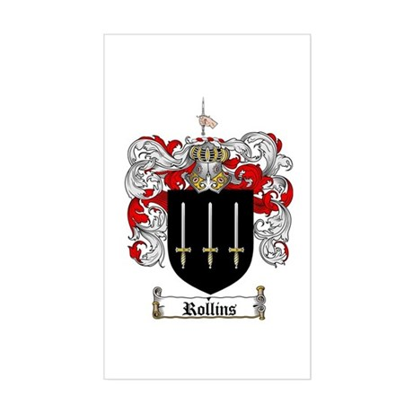 Rollins Family Crest Rectangle Sticker