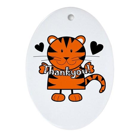 Tiger Thankyou Oval Ornament