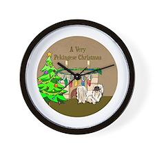 A Very Pekingese Christmas Wall Clock