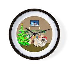 Santa Pekingese Christmas Wall Clock