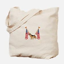 American Flags German Shepard Tote Bag