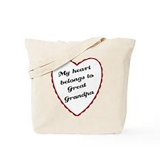 My Heart Belongs to Great Grandpa Tote Bag