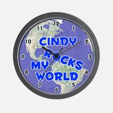 Cindy Rocks My World (Blue) Wall Clock