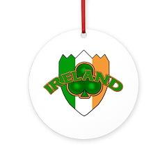 Ireland Badge with Shamrock Round Ornament