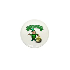 Leprechaun with Pot of Gold Mini Button (10 pack)