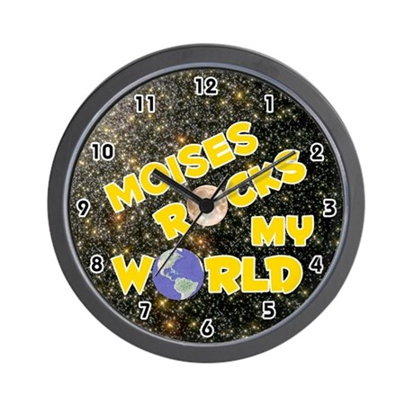 Moises Rocks My World (Gold) Wall Clock