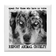Report Animal Cruelty Dog Tile Coaster