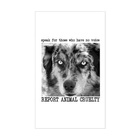 Report Animal Cruelty Dog Rectangle Sticker