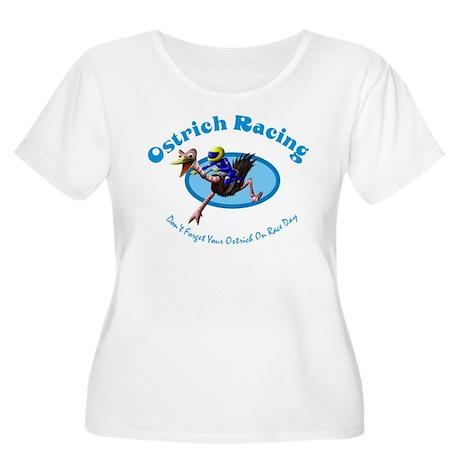 Ostrich Racing Women's Plus Size Scoop Neck T-Shir