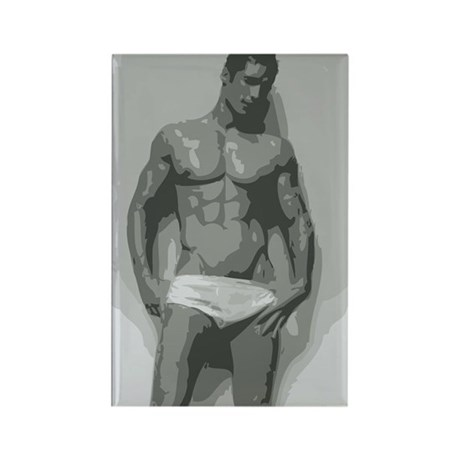 White - Nude Male Rectangle Magnet (10 pack)