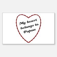 My Heart Belongs to Papou Rectangle Decal