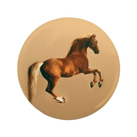 "Palomino stallion, horse art. 3.5"" Button"