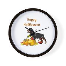 Happy Halloween Rottweiler Wall Clock