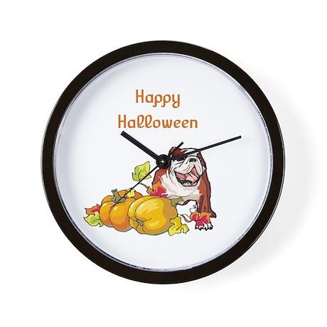 Happy Halloween Bulldog Wall Clock
