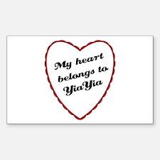 My Heart Belongs to YiaYia Rectangle Decal