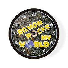 Ramon Rocks My World (Gold) Wall Clock