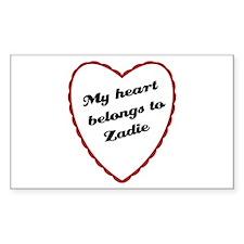 My Heart Belongs to Zadie Rectangle Decal