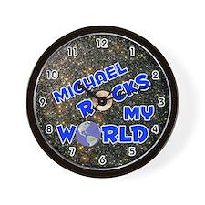 Michael Rocks My World (Blue) Wall Clock