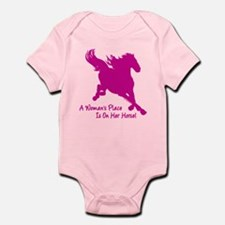 Woman's Place Is On Her Horse Infant Bodysuit
