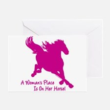 Woman's Place Is On Her Horse Greeting Card