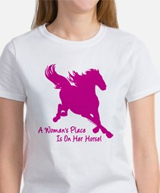 Woman's Place Is On Her Horse Women's T-Shirt