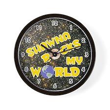 Shawna Rocks My World (Gold) Wall Clock