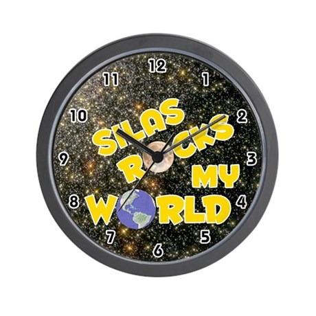 Silas Rocks My World (Gold) Wall Clock
