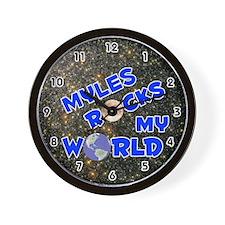 Myles Rocks My World (Blue) Wall Clock
