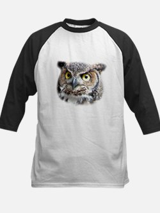 Great Horned Owl Face Kids Baseball Jersey