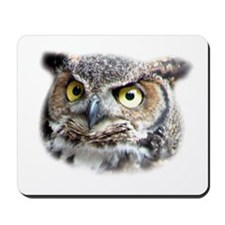 Great Horned Owl Face Mousepad
