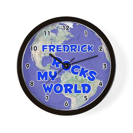 Fredrick Rocks My World (Blue) Wall Clock