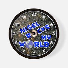 Nigel Rocks My World (Blue) Wall Clock