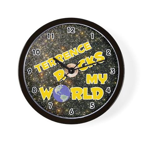 Terrence Rocks My World (Gold) Wall Clock